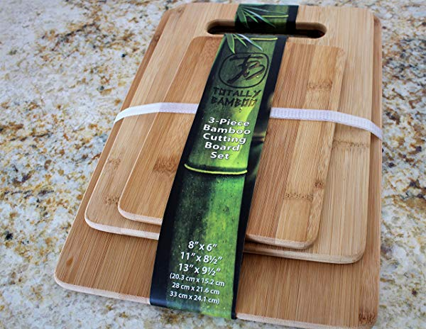 Totally Bamboo Original 3 Piece Bamboo Cutting & Serving Board Set. Designed in USA, Premium craftsmanship GUARANTEED. Durable & Strong - Perfect for: Meat, Vegetables, Fruit, & Cheese !
